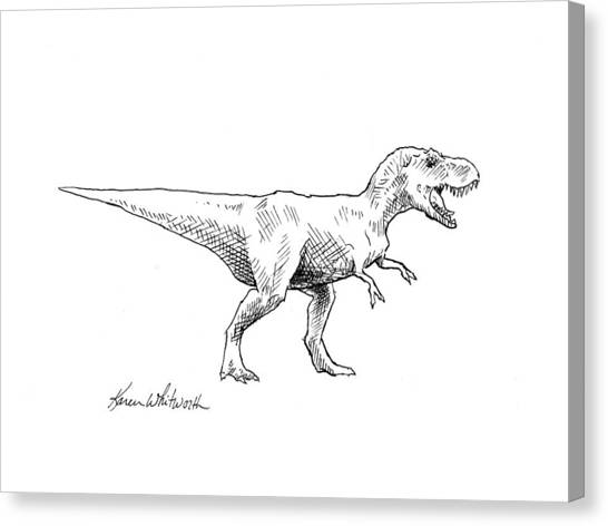 Dinosaurs Canvas Print - Tyrannosaurus Rex Dinosaur T-rex Ink Drawing Illustration by Karen Whitworth