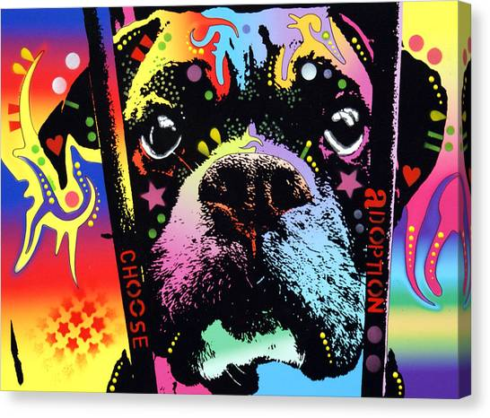 Boxers Canvas Print - Choose Adoption Boxer by Dean Russo Art