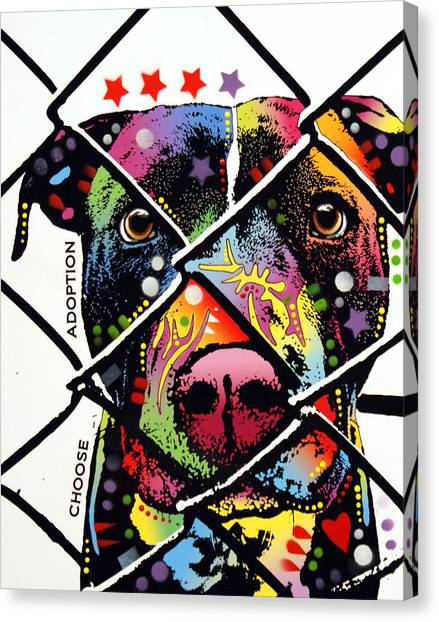 Pit Bull Canvas Print - Choose Adoption Pit Bull by Dean Russo Art
