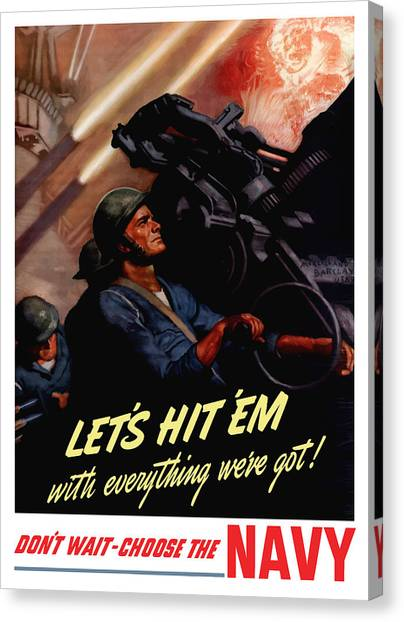 Navy Canvas Print - Choose The Navy -- Ww2 by War Is Hell Store