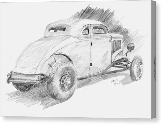 Classic Car Drawings Canvas Print - Chopped Coupe Sketch by David King