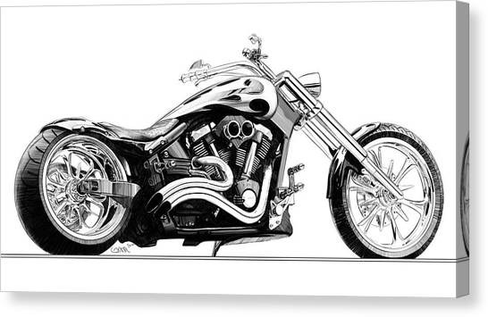 pencil drawing motorcycle canvas print chopper pencil sketch by konrad labedz