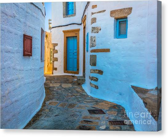 Greece Canvas Print - Chora Alley by Inge Johnsson