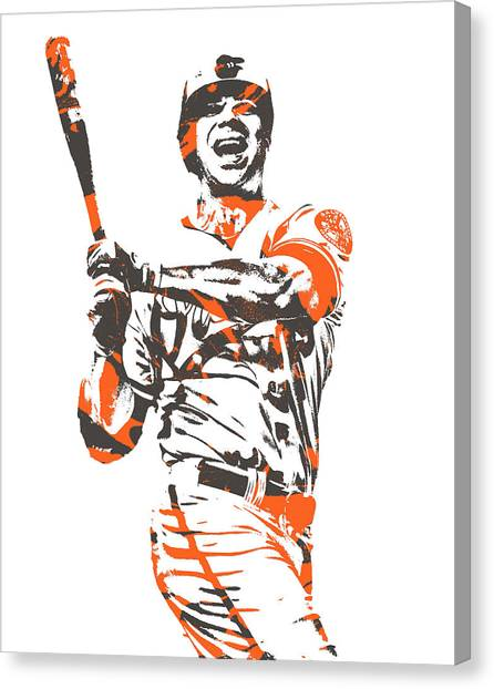 Orioles Canvas Print - Chris Davis Baltimore Orioles Pixel Art 10 by Joe Hamilton