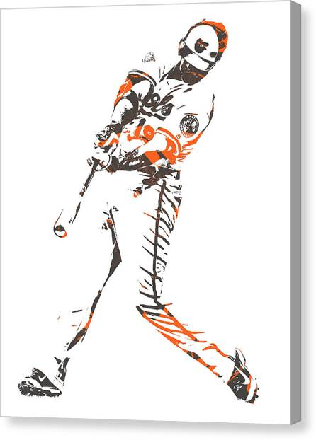 Orioles Canvas Print - Chris Davis Baltimore Orioles Pixel Art 11 by Joe Hamilton
