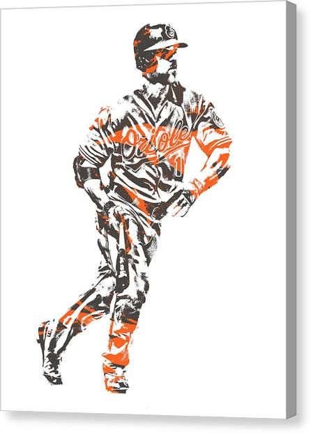 Orioles Canvas Print - Chris Davis Baltimore Orioles Pixel Art 12 by Joe Hamilton