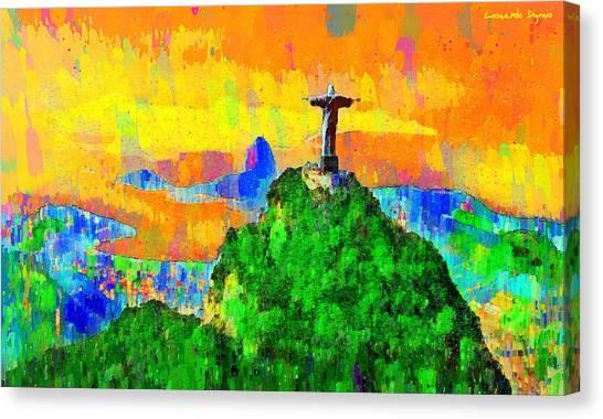 Saint Canvas Print - Christ Above All In Rio 3 - Pa by Leonardo Digenio