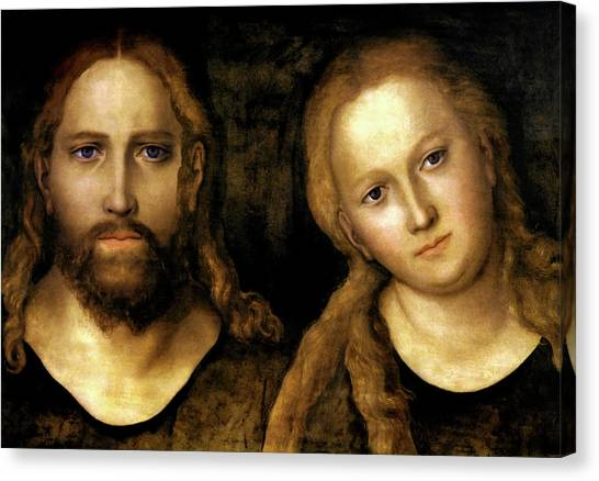 Christ And Mary Canvas Print by Lucas Cranach the Elder