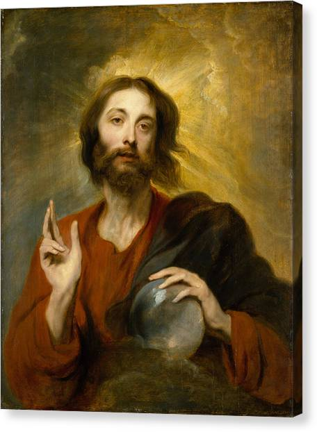 Communion Canvas Print - Christ As Salvator Mundi by Anthony van Dyck