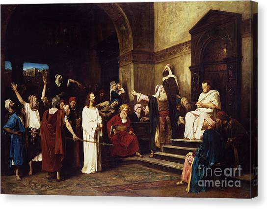 1900 Canvas Print - Christ Before Pilate by Mihaly Munkacsy