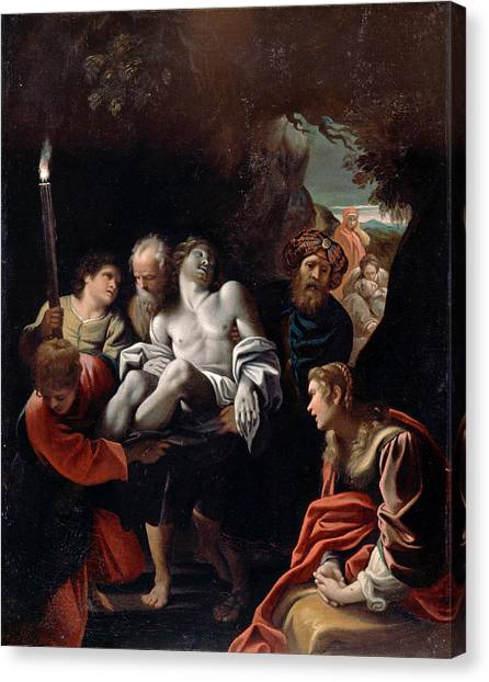 Buried Canvas Print - Christ Carried To The Tomb 2 by Sisto Badalocchio