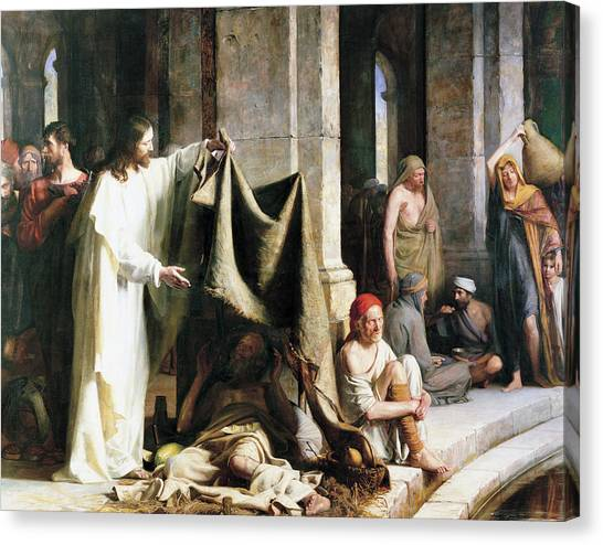 Christ Christ And The Man At The Healing Wel Canvas Print