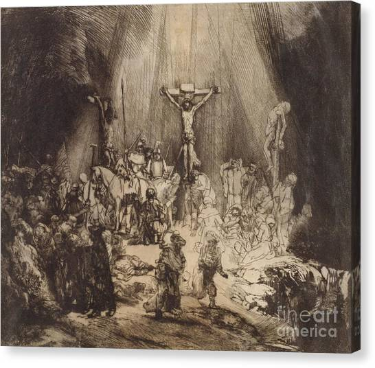 Rembrandt Canvas Print - Christ Crucified Between The Two Thieves  The Three Crosses, 1653 by Rembrandt