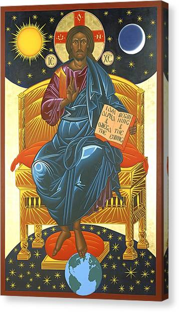 Byzantine Canvas Print - Christ Enthroned Icon  by Mark Dukes