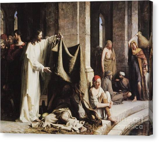 Sick Canvas Print - Christ Healing The Sick At The Pool Of Bethesda by Carl Heinrich Bloch