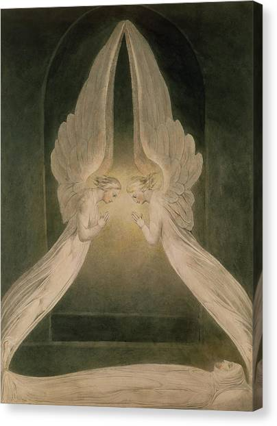 Holy Bible Canvas Print - Christ In The Sepulchre Guarded By Angels by William Blake