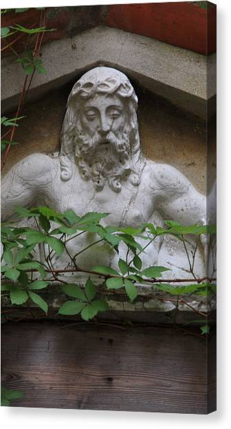 Christ On Shrine In Venice With Leaves Canvas Print by Michael Henderson