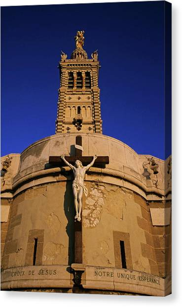 Christ On The Cross Outside The Nortre Dame De La Garde Canvas Print by Sami Sarkis