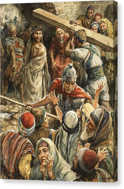 Centurion Canvas Print - Christ On The Way To His Crucifixion by Henry Coller