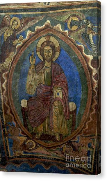 Romanesque Art Canvas Print - Christ Pantocrator Fresco. Basilica Saint-julien. Brioude. Haute Loire. Auvergne. France. by Bernard Jaubert