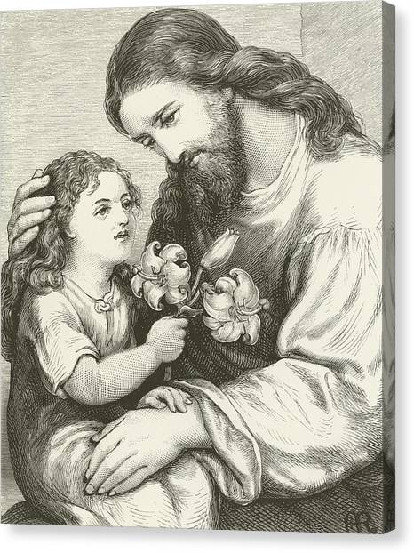 Long Hair Canvas Print - Christ Receiving A Child by English School