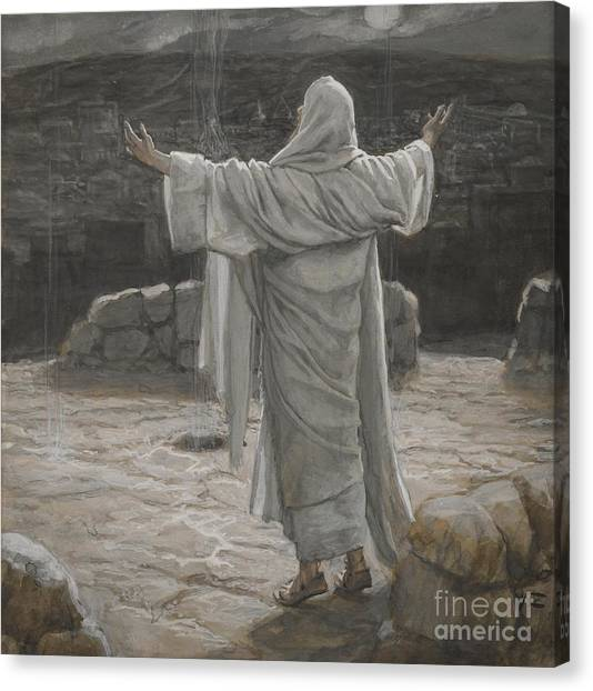 Arms Outstretched Canvas Print - Christ Retreats To The Mountain At Night by Tissot