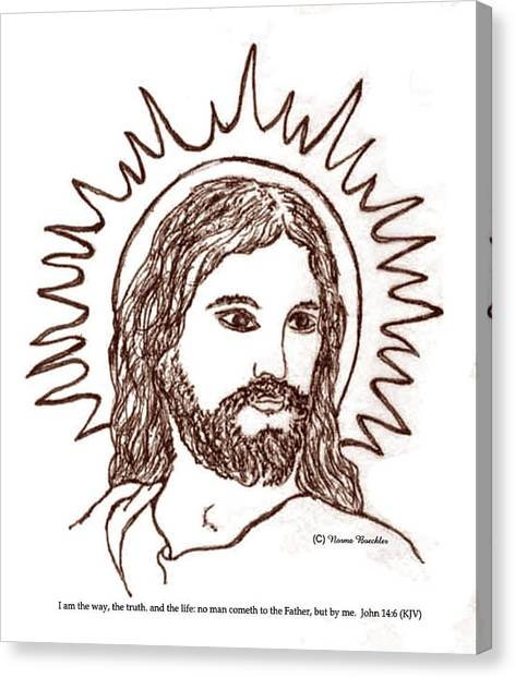 The Christ Ink Drawing Canvas Print - Christ The Savior by Norma Boeckler