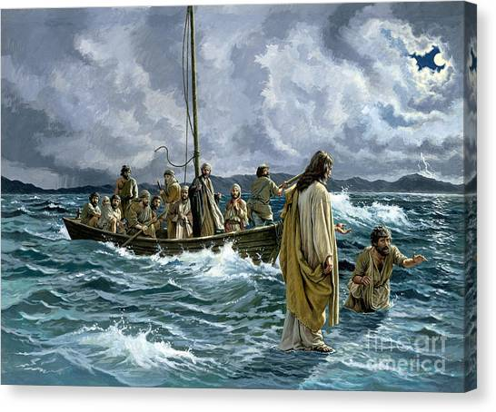 Ships Canvas Print - Christ Walking On The Sea Of Galilee by Anonymous