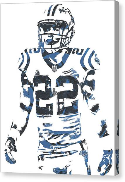 Carolina Panthers Canvas Print - Christian Mccaffrey Carolina Panthers Pixel Art 2 by Joe Hamilton