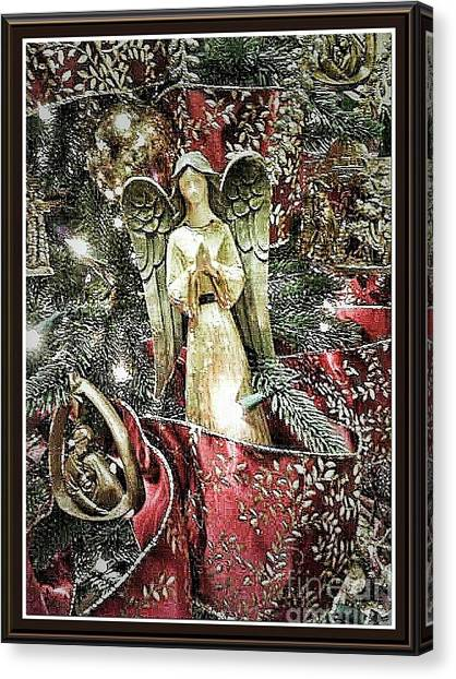 Christmas Angel Greeting Canvas Print