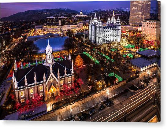 Christmas At Temple Square Canvas Print