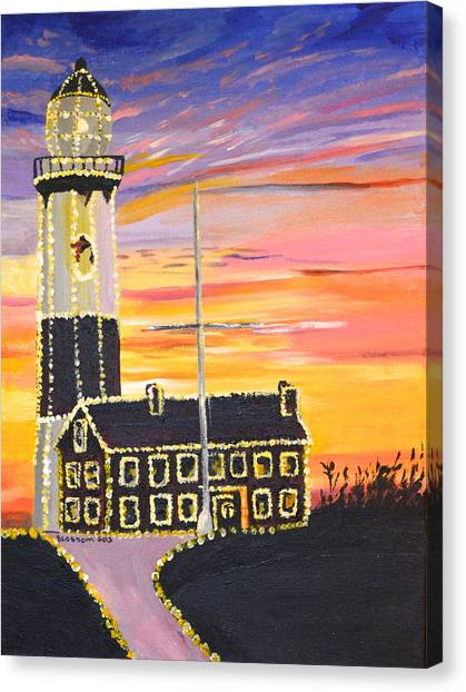 Christmas At The Lighthouse Canvas Print