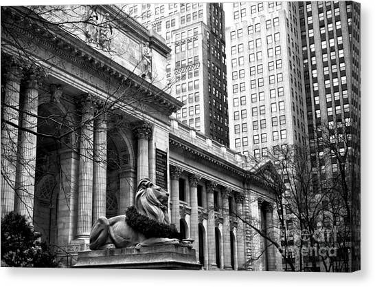 The City That Never Sleeps Canvas Print - Christmas At The New York Public Library by John Rizzuto