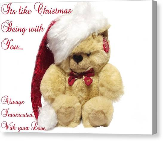Christmas Bear Intoxicated With Your Love Canvas Print by Dawn Hay