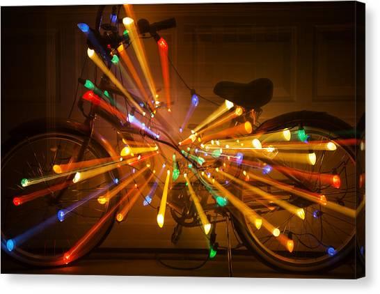 Christmas Lights Canvas Print - Christmas Bike Abstract by Garry Gay
