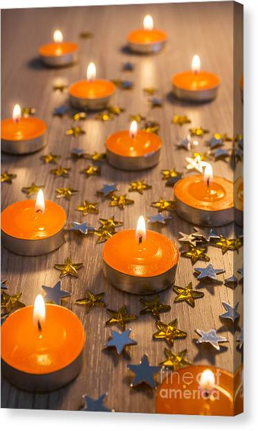 Fire Ball Canvas Print - Christmas Candles by Carlos Caetano