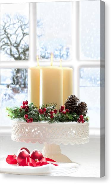 Window Canvas Print - Christmas Candles Display by Amanda Elwell