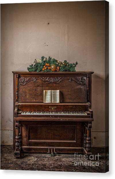 Canvas Print featuring the photograph Christmas Card With Piano In Old Church by T Lowry Wilson