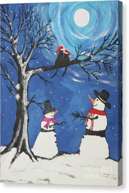 Canvas Print -  Christmas Cats In Love by Jeffrey Koss