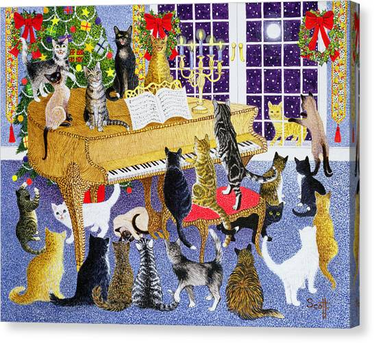 Siamese Canvas Print - Christmas Chorus by Pat Scott