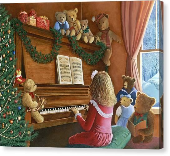 Teddy Bears Canvas Print - Christmas Concert by Susan Rinehart