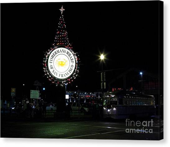 Christmas Eve 2009 Nightime At Fisherman Canvas Print by Wingsdomain Art and Photography