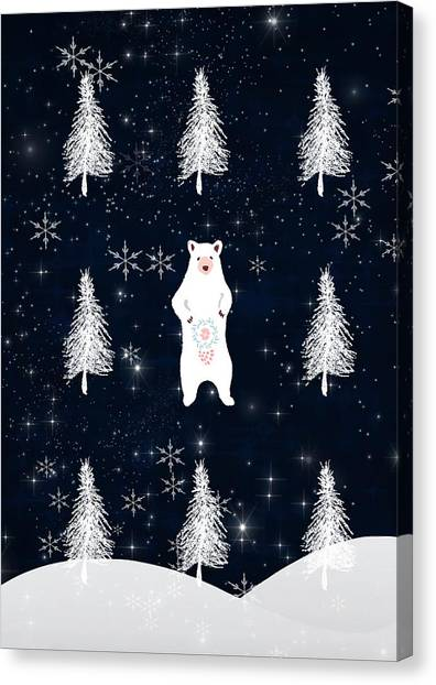Canvas Print - Christmas Eve - White Bear by Amanda Lakey