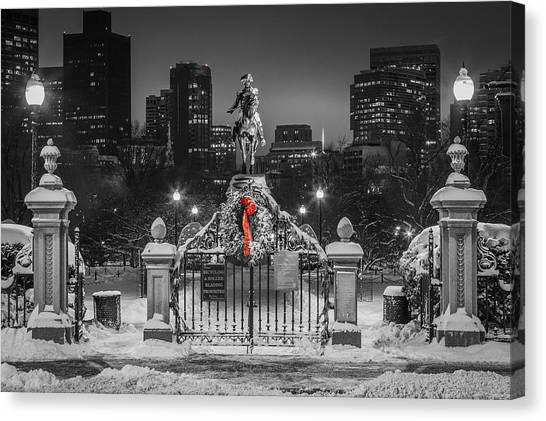 Christmas Eve In Boston Canvas Print by Ryan McKee