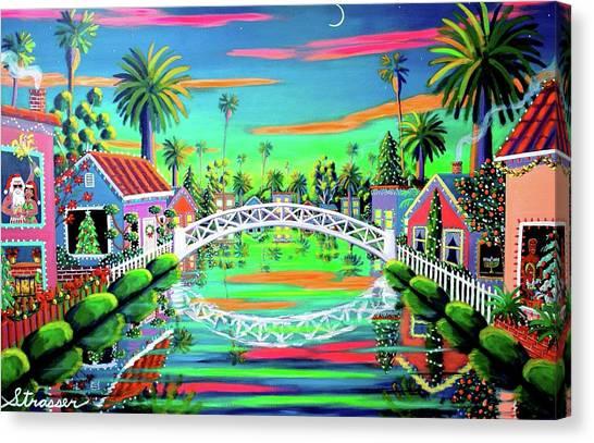 Venice Beach Canvas Print - Christmas Eve On Retro Canal by Frank Strasser