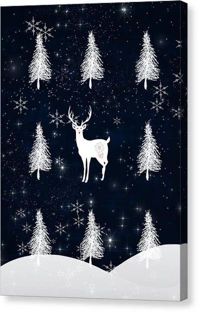 Canvas Print - Christmas Eve - White Stag by Amanda Lakey