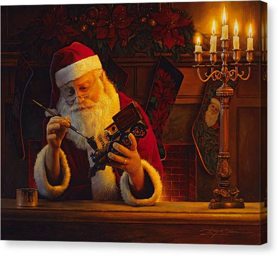 Religious Canvas Print - Christmas Eve Touch Up by Greg Olsen