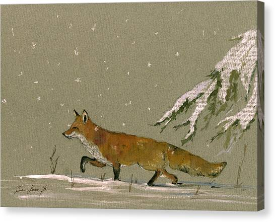 In Canvas Print - Christmas Fox Snow by Juan  Bosco