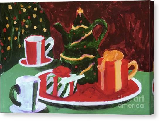 Tea Set Canvas Print - Christmas Holiday by Donald J Ryker III