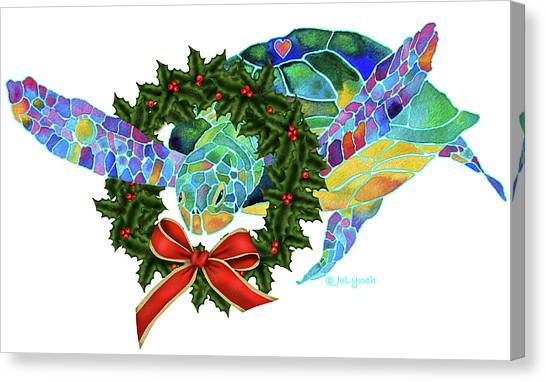 Wreath Canvas Print - Christmas Holiday Sea Turtle by Jo Lynch
